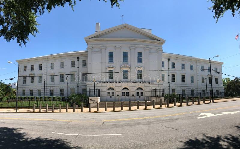 Panorama- av jet Bratton Davis United States Bankruptcy Courthouse på Laurel St i Columbia, SC royaltyfri fotografi