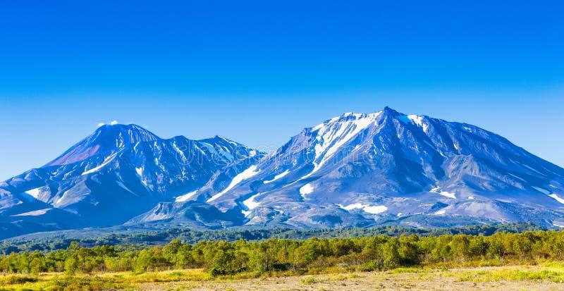 Panorama av Kamchatka volcanoes: Avachinsky och Kozelsky volcanoes i Kamchatka i hösten med entäckt överkant royaltyfri foto