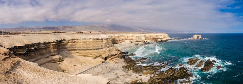 Panorama- av kusten nära den Antofagasta staden i Chile arkivfoton