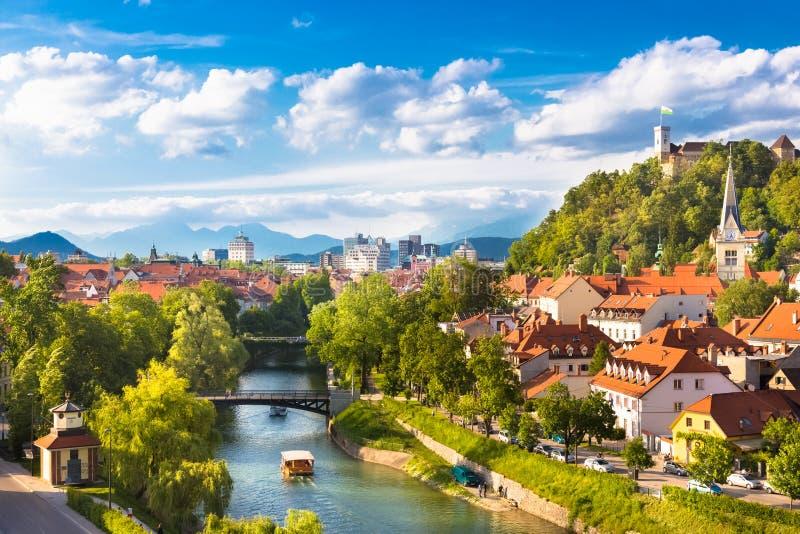 Panorama av Ljubljana, Slovenien, Europa arkivfoto