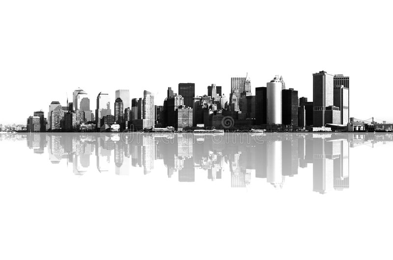 Panorama av manhattan, New York vektor illustrationer