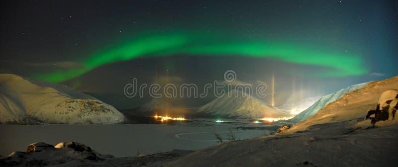 Panorama av morgonrodnadpolarisen royaltyfri fotografi