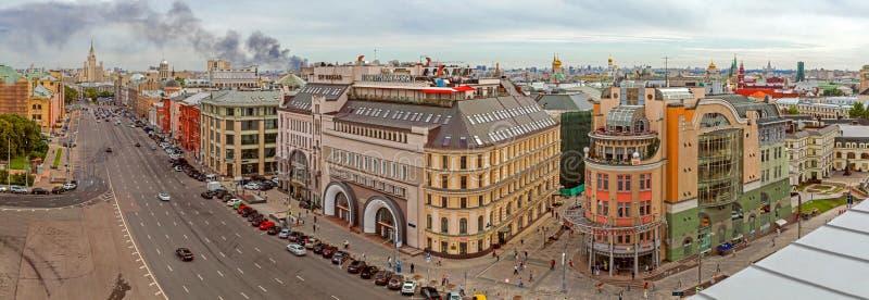 Panorama av Moskva från taket av byggnaden royaltyfri bild