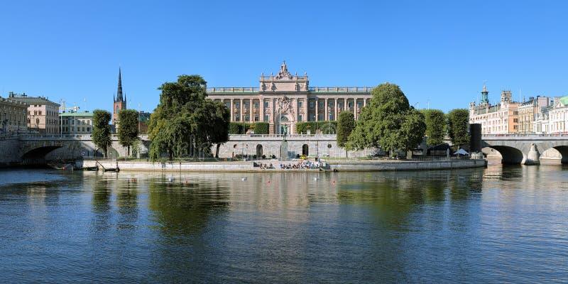 Panorama av parlamenthuset i Stockholm, Sverige royaltyfri fotografi