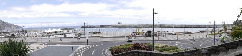 Panorama av porten i Funchal på ön av madeiran arkivfoto