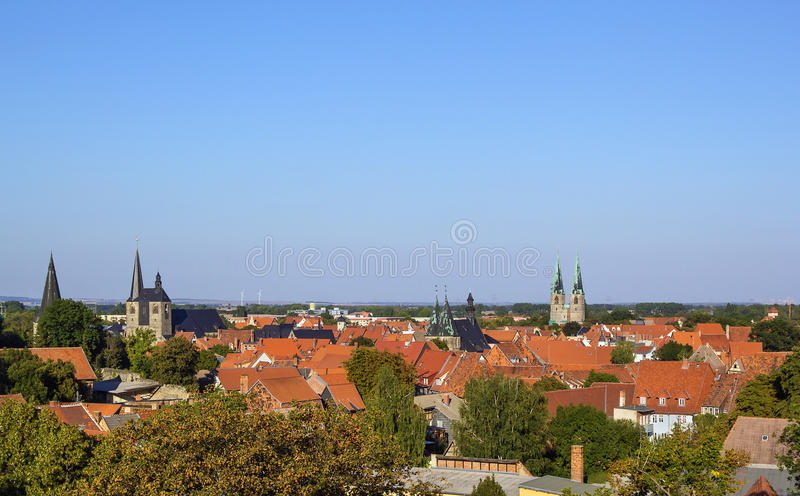 Panorama av Quedlinburg, Tyskland royaltyfri bild