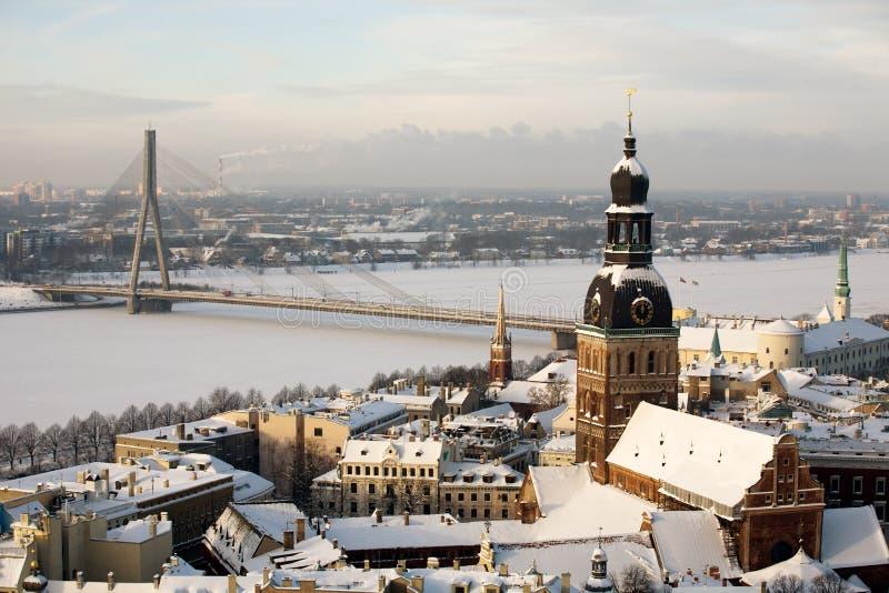 Panorama av Riga arkivbilder