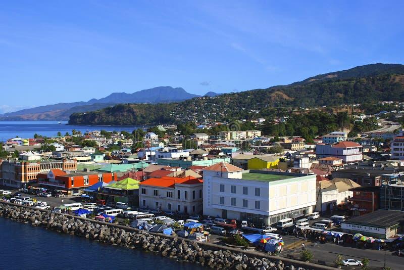 Panorama av Roseau, Dominica som är karibisk royaltyfri foto