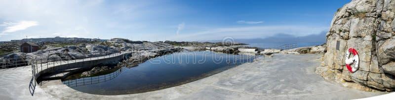 Panorama av simbassängområdet med säkert tillträde till bad och infrastruktur runt, Tananger arkivfoto