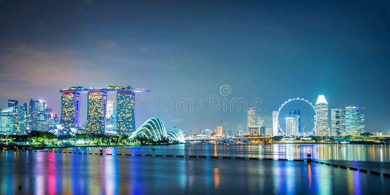 Panorama av Singapore stadshorisont royaltyfri foto
