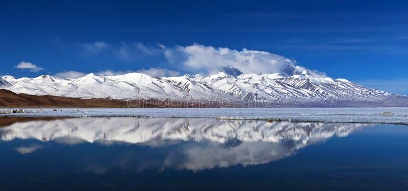 Panorama av sjön Manasarovar (Mapam Yumco), västra Tibet royaltyfri bild