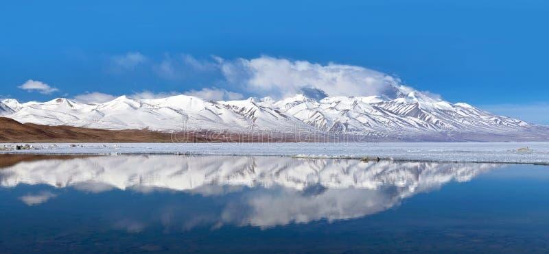 Panorama av sjön Manasarovar, västra Tibet, Kina arkivbilder