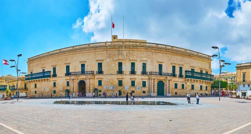 Panorama av slotten för Grandmaster` s, Valletta, Malta arkivfoto
