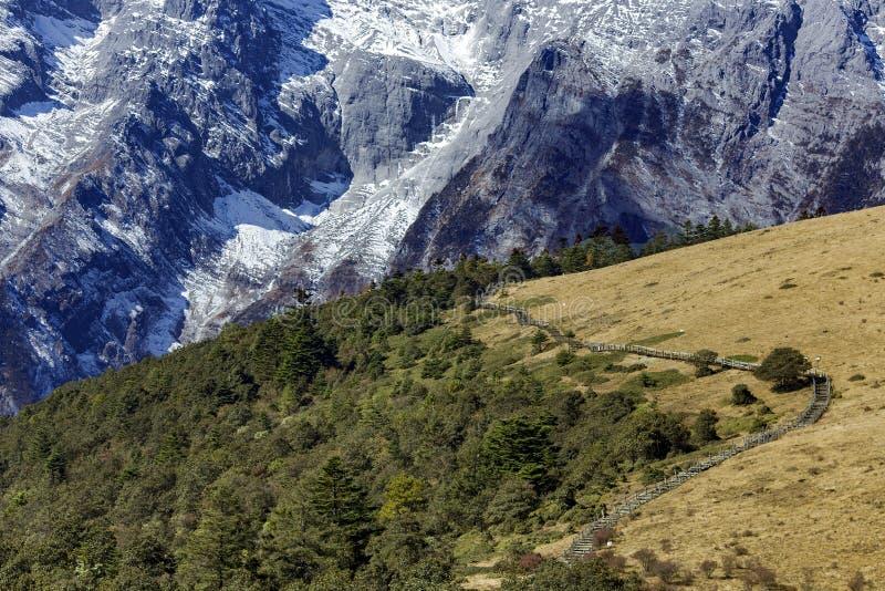 Panorama av snowcapped Jade Dragon Snow Mountain royaltyfri bild