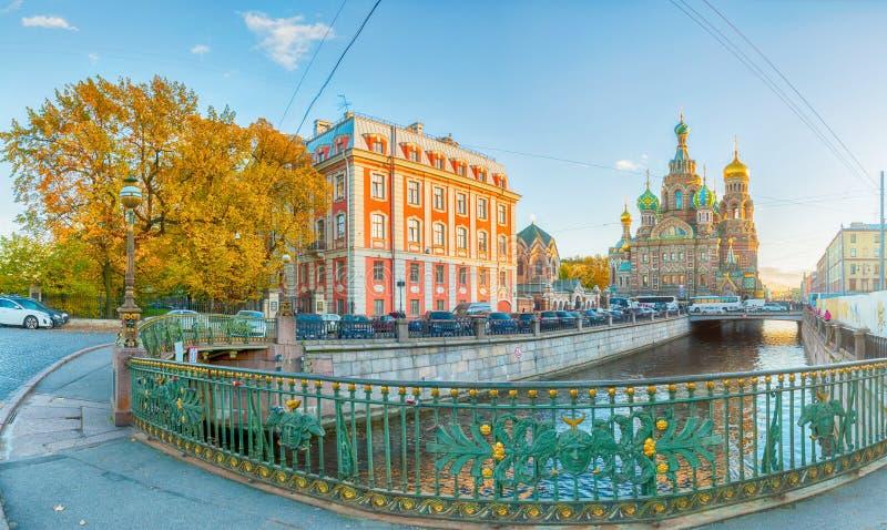 Panorama av St Petersburg, Ryssland - domkyrka av vår frälsare på spillt blod, högre skola av folkkonstbyggande arkivbilder