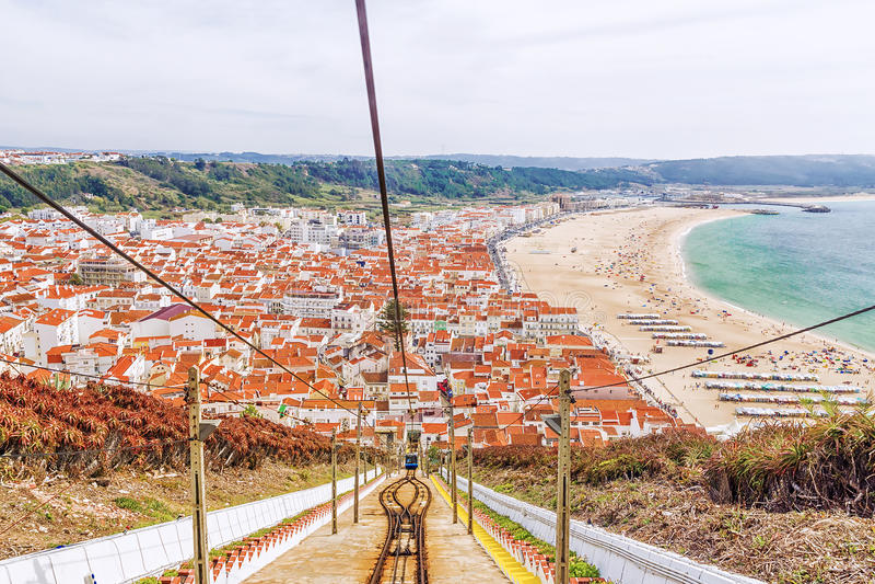 Panorama av staden av Nazare i Portugal royaltyfria bilder