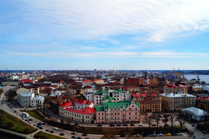 Panorama av staden av Vyborg royaltyfri fotografi