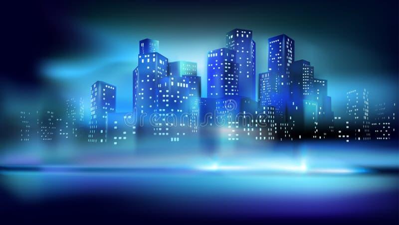Panorama av staden p? natten ocks? vektor f?r coreldrawillustration stock illustrationer