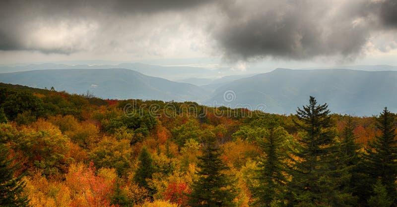 Panorama av stormiga kullar från Dolly Sods arkivfoto