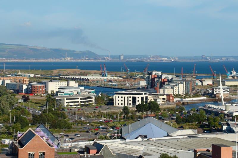 Panorama av Swansea, Wales, UK royaltyfria foton