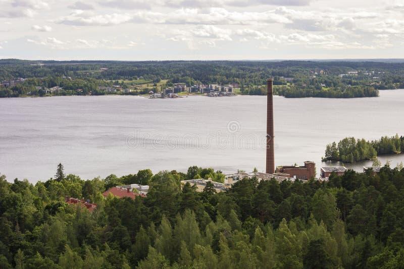 Panorama av Tammerfors, Finland arkivbilder