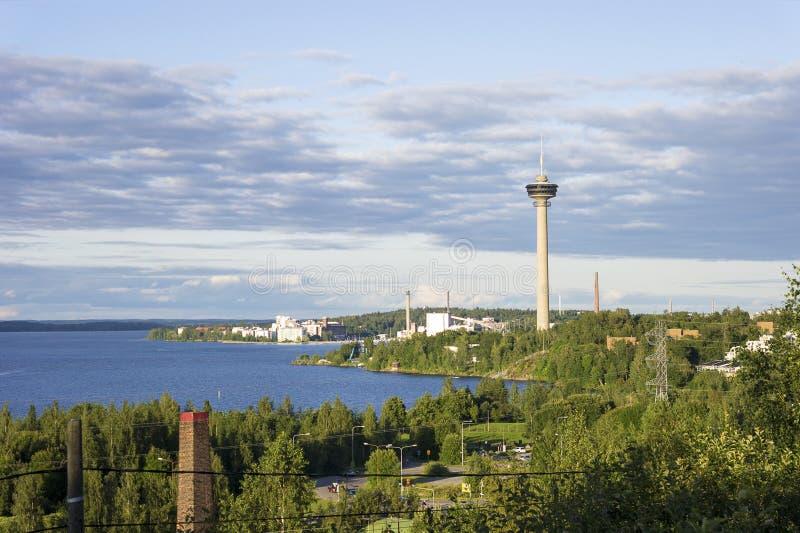 Panorama av Tammerfors, Finland arkivfoto