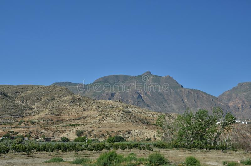 Panorama av toppiga bergskedjan Nevada Mountains royaltyfri fotografi