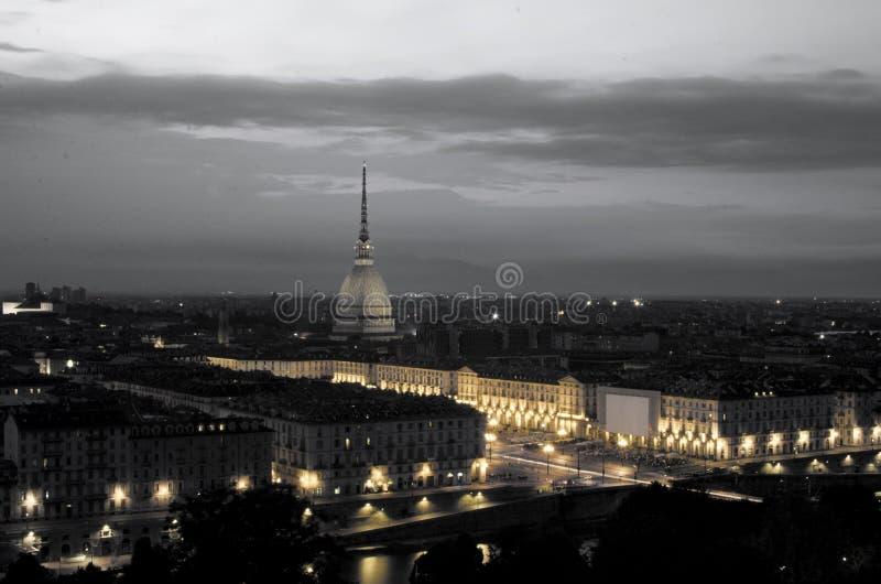 Panorama av Turin Mole Antonelliana B&W fotografering för bildbyråer