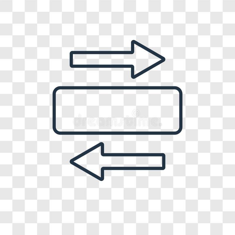 Panorama avec l'icône linéaire de vecteur de concept de flèche droite d'isolement dessus illustration de vecteur