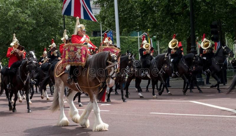 Panorama bębenu koń z jeźdzem, z gospodarstwo domowe kawalerią behind, brać część w Gromadzić się Colour paradę zdjęcie stock
