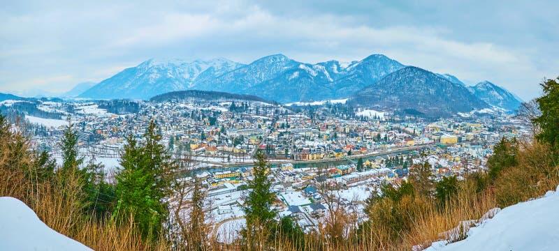 Panorama of Bad Ischl from Siriuskogel mountain, Salzkammergut, Austria stock photo