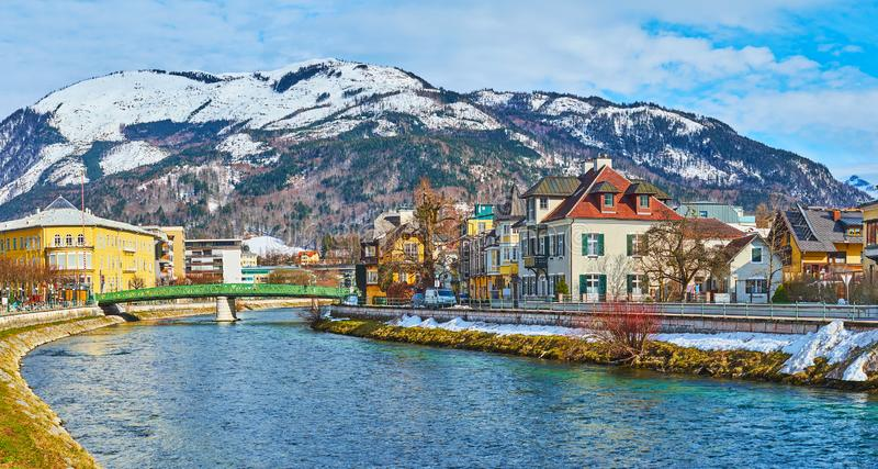 Panorama of Bad Ischl from Traun river bank, Austria stock photo