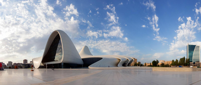 Panorama of Baku Heidar Aliyev Cultural Center, Azerbaijan. royalty free stock image