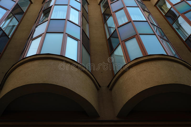 Panorama- balkonger royaltyfria foton