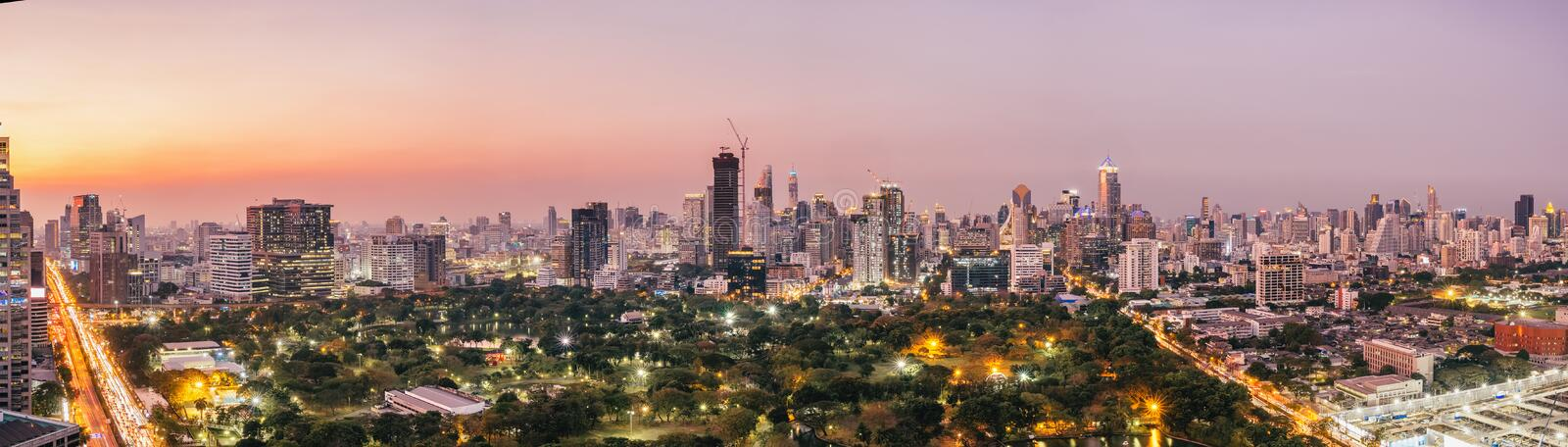 Panorama of Bangkok City skyline with urban skyscrapers at sunset stock images
