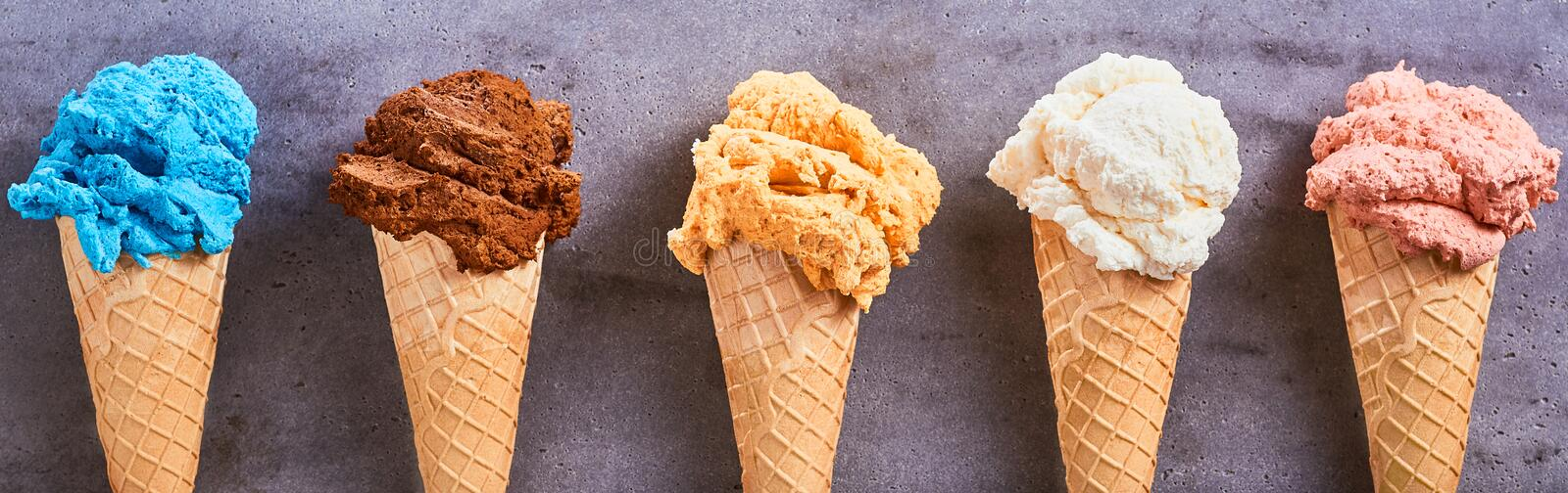 Panorama banner with assorted artisanal ice-creams stock photo