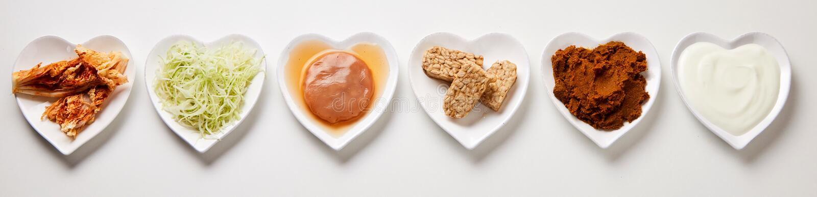 Panorama banner of assorted fermented foods stock photo