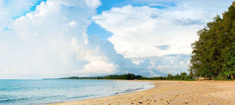 Coast Andaman Sea island Phuket Sand Beach. Panorama Banner Coast Andaman Sea Island Phuket Sand Beach Blue Sea Summer Holiday Background royalty free stock image