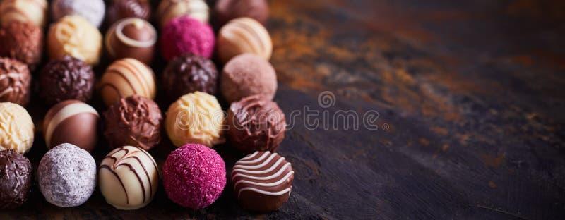 Panorama banner of handmade chocolate balls stock images