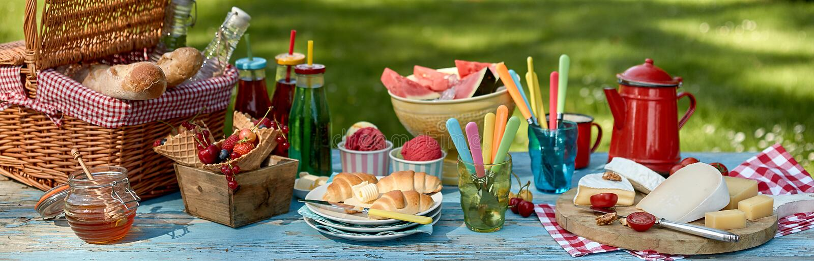 Panorama banner with a healthy summer picnic stock images