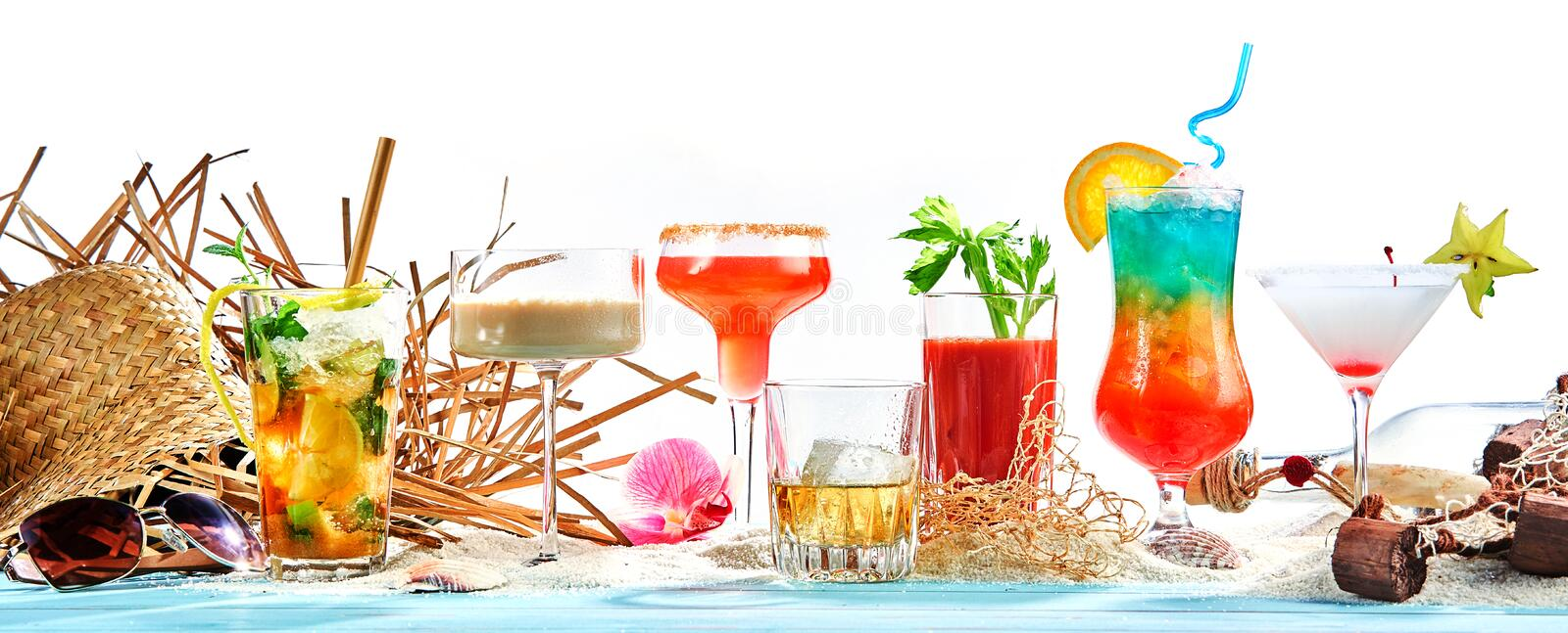 Panorama banner with large assortment of cocktails royalty free stock photo