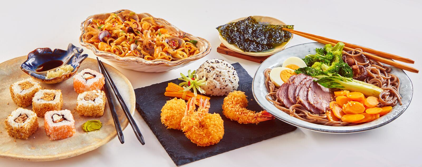 Panorama banner of traditional Japanese dishes royalty free stock photography