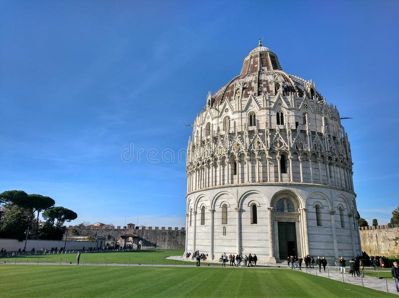 Panorama of Baptistery of St. John (Battistero di Pisa) in Pisa, Italy. Panorama of Baptistery of St. John (Battistero di Pisa) in Pisa stock photo
