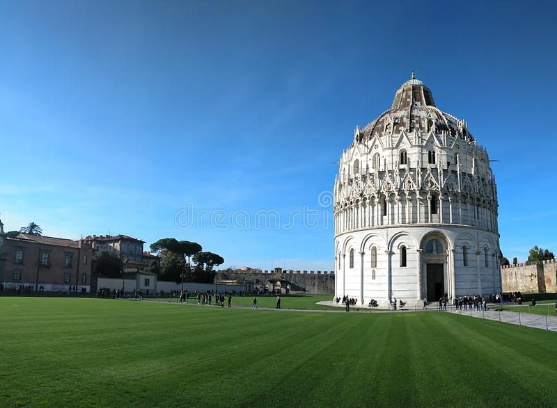 Panorama of Baptistery of St. John & (Battistero di Pisa) in Pisa, Italy. Panorama of Baptistery of St. John & x28;Battistero di Pisa& x29; in Pisa royalty free stock photos