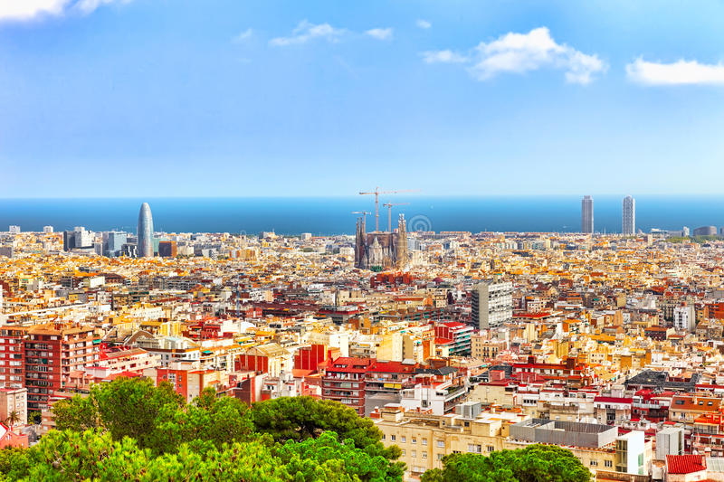 Panorama on Barcelona city from Montjuic castle. stock photos