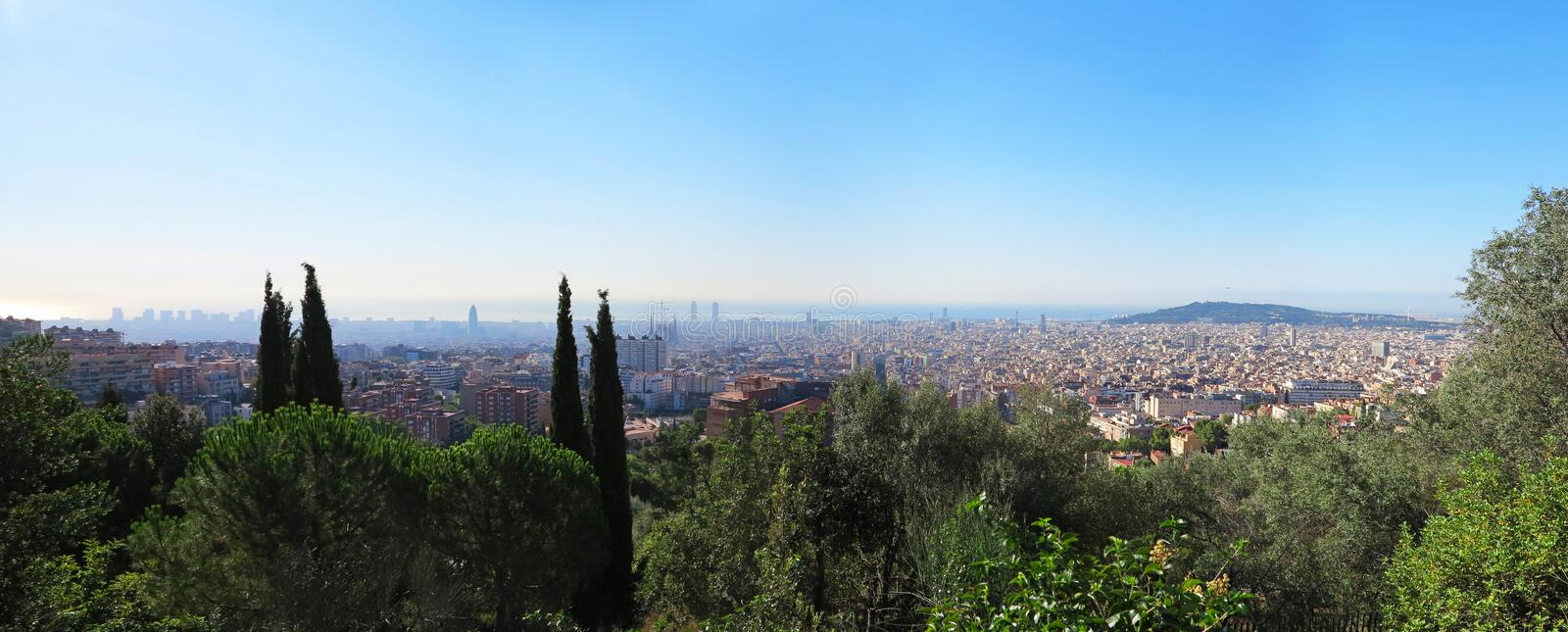 Panorama Barcelona. Panorama from Barcelona City from Park Guell by Gaudi, Spain royalty free stock photos