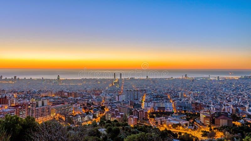 Panorama of Barcelona before sunset. A panorama of Barcelona before sunset seen from a mountain stock photos