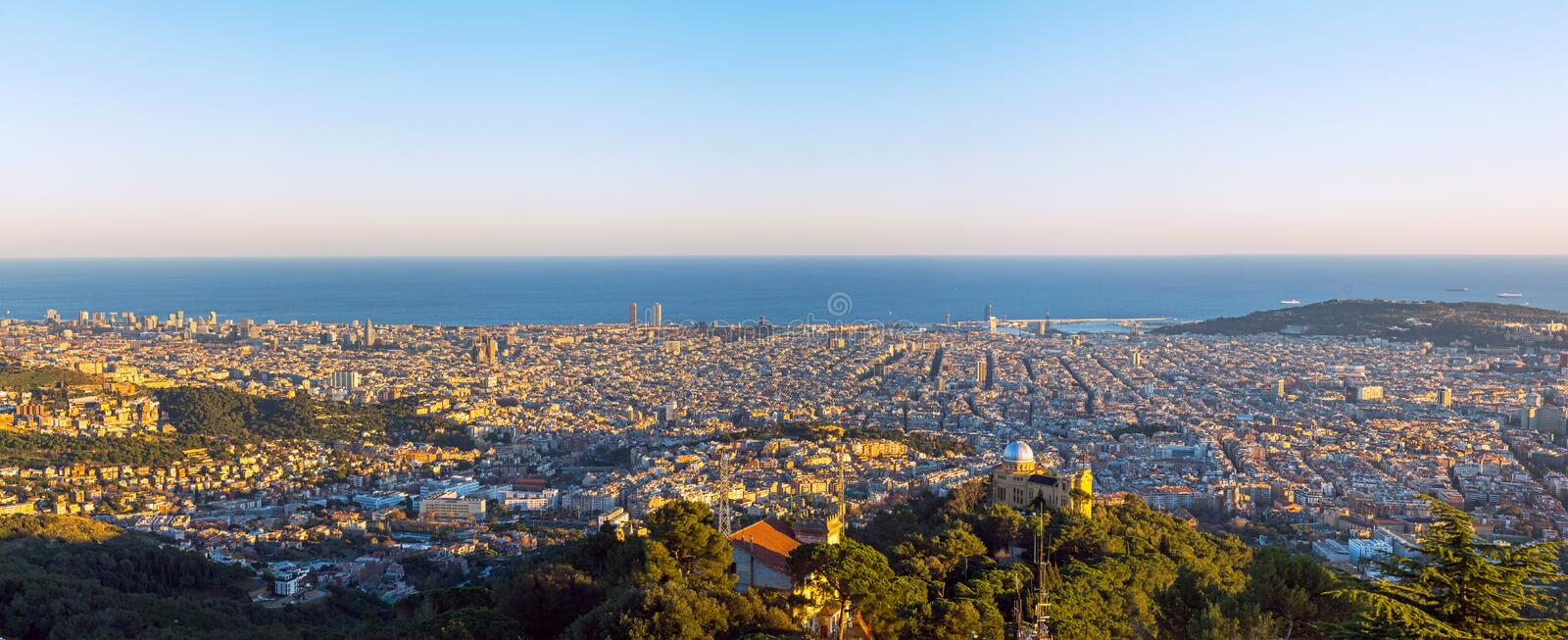 Panorama of Barcelona. A panorama of Barcelona taken from one of the hills in the city royalty free stock images