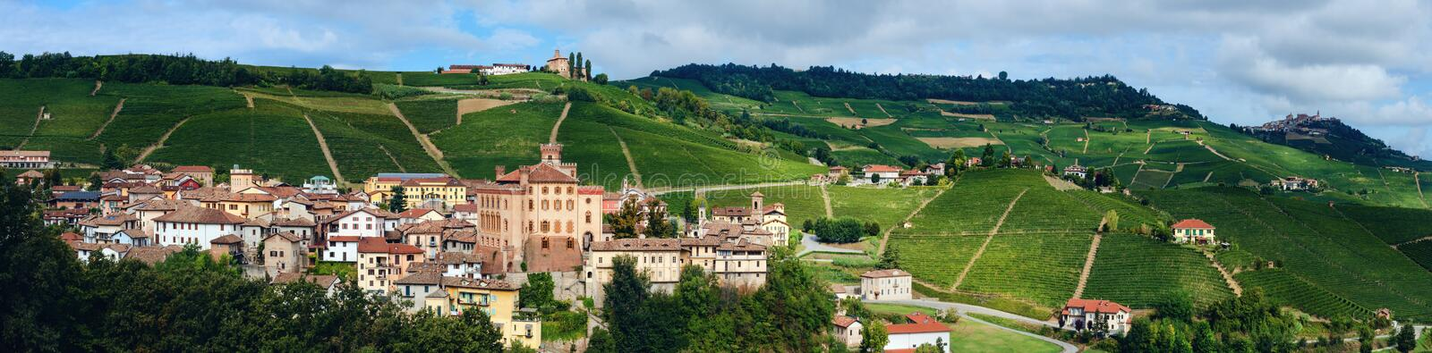 Panorama of Barolo piedmont,Italy. Panorama of Barolo Piedmont, Italy with the town, the medieval castle and the vineyards. Barolo is the main village of the royalty free stock photography