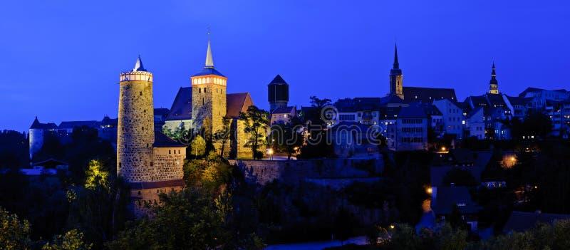 Panorama With Bautzen At Night Royalty Free Stock Image